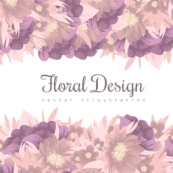 カラフルな花カードと花のフレーム