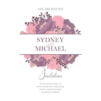色とりどりの花での結婚式の招待状