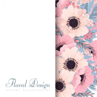 ピンクとブルーの花と花のフレーム。