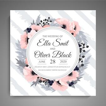 色とりどりの花で結婚式の招待状。