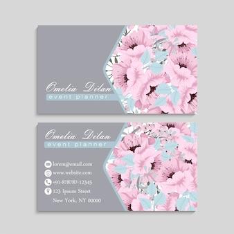 Визитная карточка с красивыми розовыми цветами