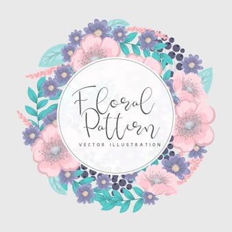 花の花輪とグリーティングカード