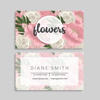 美しいピンクの花の名刺