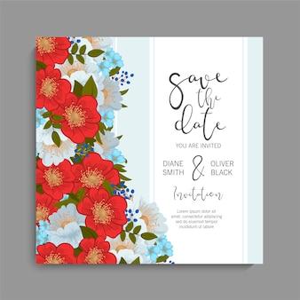 カラフルな花の結婚式の招待状。