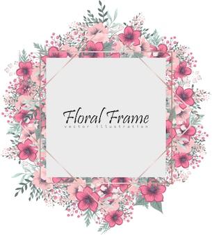 ピンクの花と花のフレーム。花輪