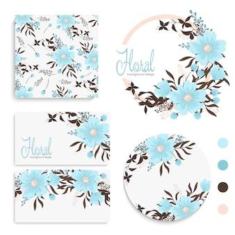 花、葉を持つカードのセット。結婚式の飾り。花の招待、ポスター、招待。