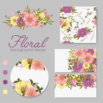 花、葉を持つカードのセット。結婚式の飾り。