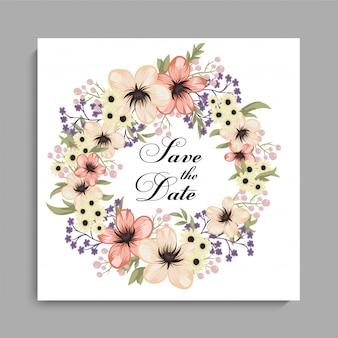 黄色の花輪を持つ花の結婚式カードテンプレート