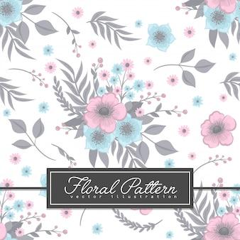 水色の花の背景のシームレスパターン