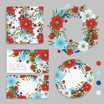 Цветочные свадебные открытки и набор рамок
