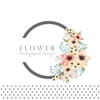 Круглая рамка с цветами