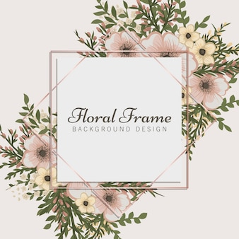 花と花のフレームベージュボーダー
