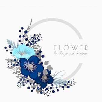花の花輪の描画ブルーサークルフレームの花を持つ
