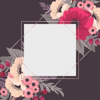 花の境界線の背景ホットピンクの花