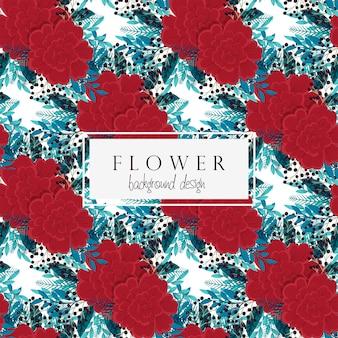背景の花の赤い花のシームレスパターン