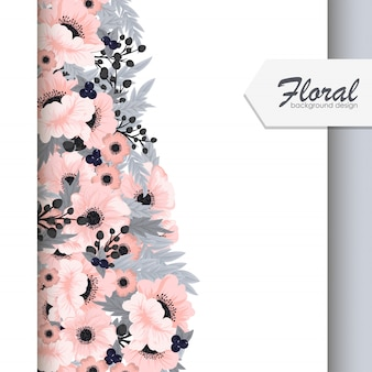 花のボーダーベクトルピンクの花