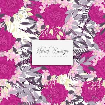 背景の花のホットピンクの花のシームレスパターン