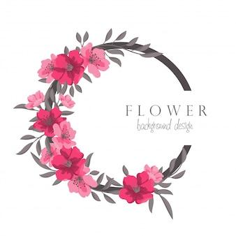 花とホットピンクサークルフレームを描く花の花輪