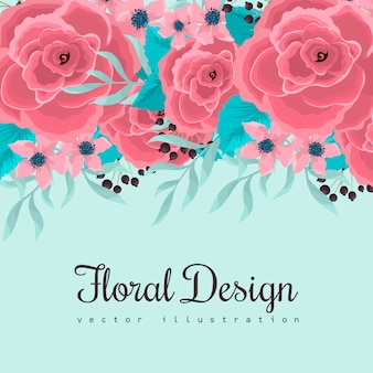 Цветочная рамка с розовыми цветами на мятном зеленом фоне