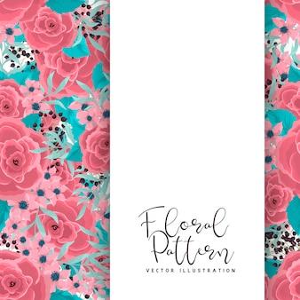 ミントグリーンの背景にピンクの花を描く花ボーダー