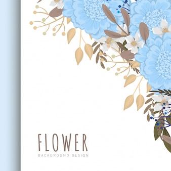 Цветочная рамка-шаблон светло-голубых цветов