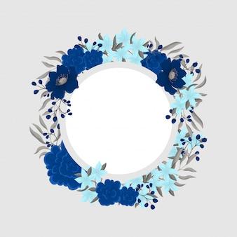 Синяя цветочная рамка