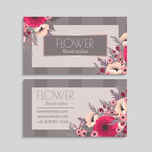 Цветочные визитки ярко-розовые