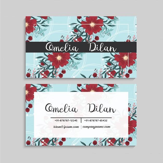Цветочный шаблон визитки красный и мятно-зеленый