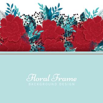 花イラストフレームテンプレート-赤とミントの花の背景