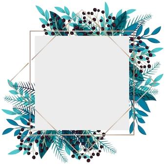 花のフレーム-青い葉と果実