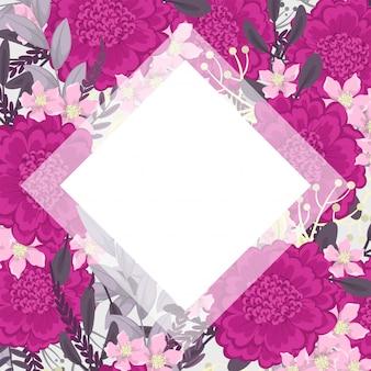 ピンクの花のフレームの背景のベクトル