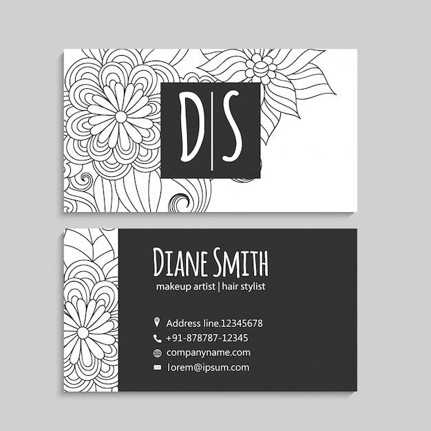 Цветочные визитки белые и черные