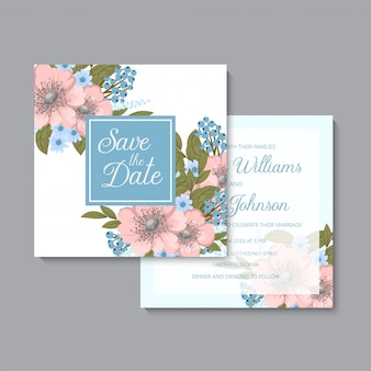 花の結婚式ライトブルーとピンクの花