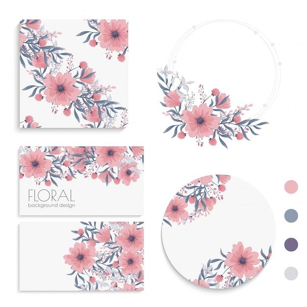 花ピンクの花カード、花輪