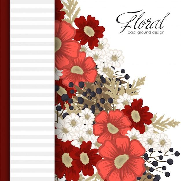 赤い花のボーダー