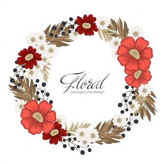 花と花輪を描く赤丸フレーム花
