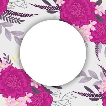 ホットピンクの花を描く花丸