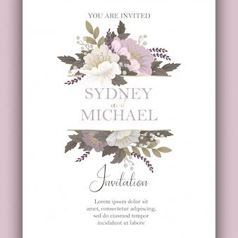 Цветочный свадебный шаблон розовая цветочная открытка