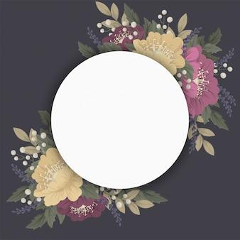 花の円形ボーダーダークブルー