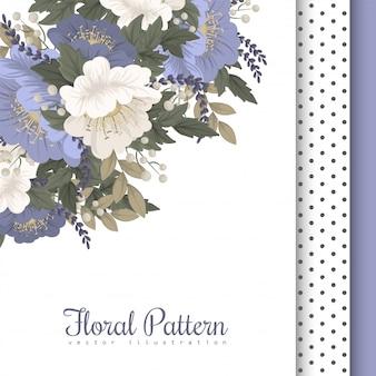 花柄ボーダーライトブルーの花