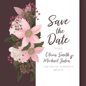 花の結婚式テンプレートピンクの花カード