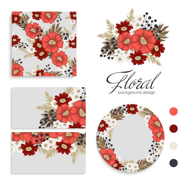 赤い花の背景の赤と白の花カード、パターン、花輪