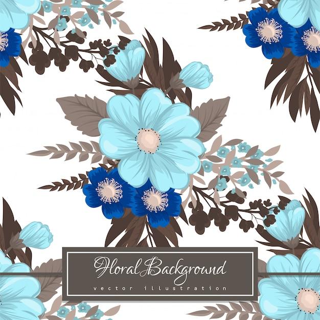 光の青い花のシームレスパターン