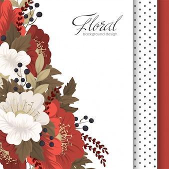 赤い花の赤と白の花