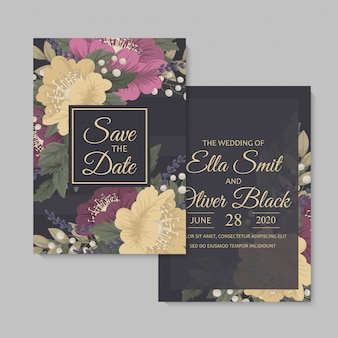 花の結婚式テンプレート暗い花カード