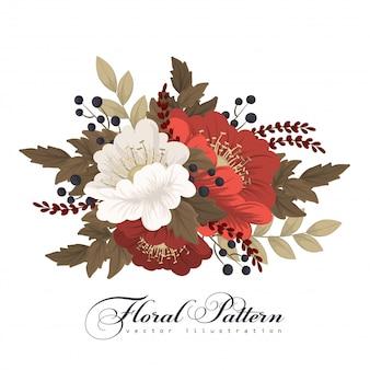 Красный и белый клипарт цветок