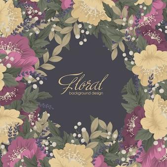花のフレーム-暗い花カード