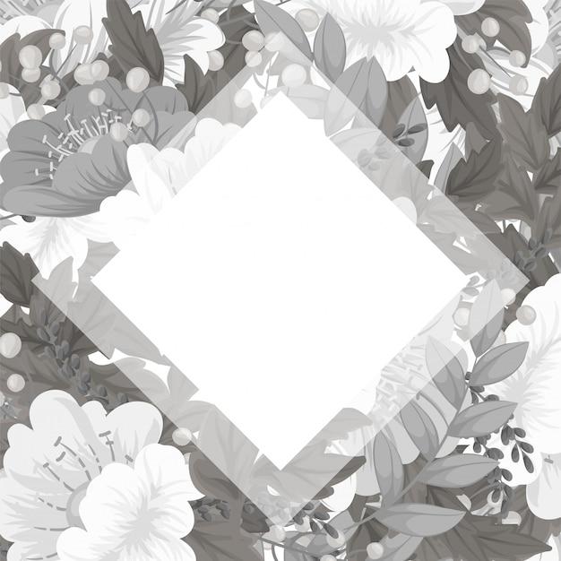 花のフレームテンプレート-白と黒の花カード