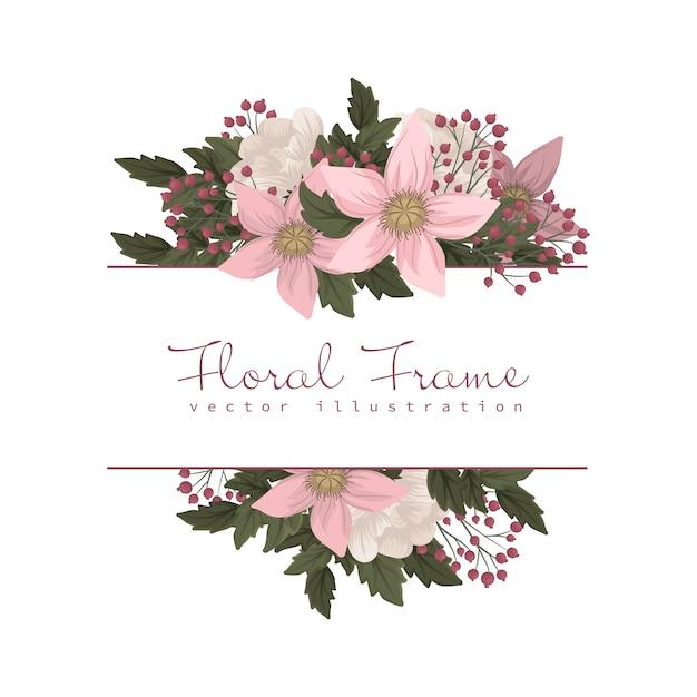 ピンクと白の花のボーダー