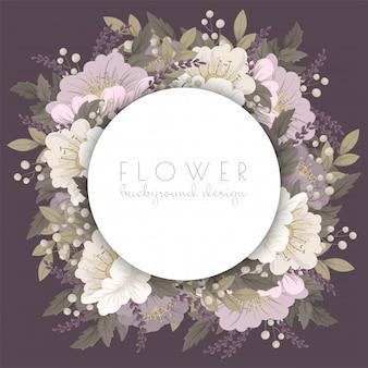 ピンクの花カードを描く花の花輪